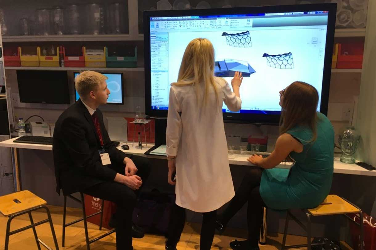 DEC! students showing their Revit skills on Samsung display at BETT 2017